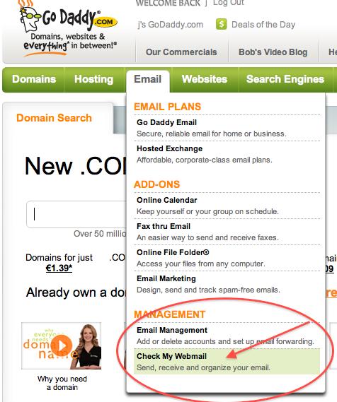 Godaddy menu to review website emails