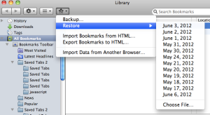 Panel Showing Prior Bookmark Backup Files