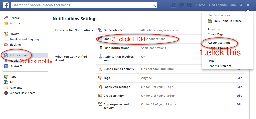 How to get facebook to stop emailing you